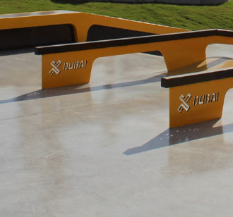 Concrete Colours, Skatepark X-Dubai, exposed coloured concrete black and yellow